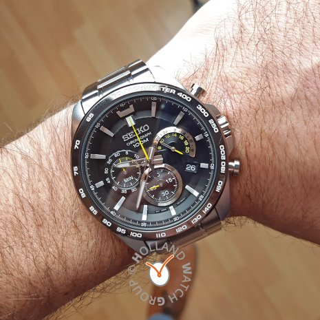 Black Chronograph Watch with Date Spring and Summer Collection Seiko