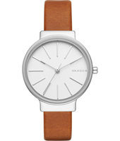 SKW2479 Ancher Narrow 30mm Silver & white ladies watch, brown strap