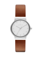 SKW2192 Ancher Small 26mm Silver & White Ladies watch with Crystal Indexes, brown strap