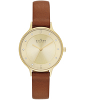 SKW2147 Anita Medium 30mm Classic gold ladies watch with crystals and brown leather strap