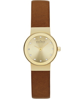 SKW2175 Freja Extra Small 22mm Gold Ladies Watch, brown strap