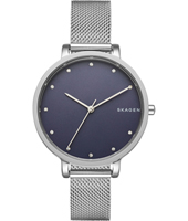 SKW2582 Hagen Medium 34mm Silver & blue ladies watch with milanese bracelet