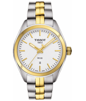 T1012102203100 PR100 33mm Bicolor watch with date and steel bracelet