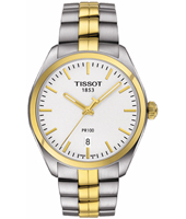 T1014102203100 PR100 38mm Bicolor watch with date and steel bracelet