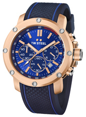 TS3 Grandeur Tech 48mm Rose gold chronograph with blue dial and rubber strap