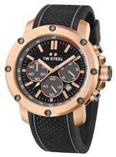 TS5 Grandeur Tech 48mm Rose gold chronograph with black dial and rubber strap