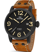 MS35 Maverick 45mm XL Men's Black Automatic Watch with Brown Strap
