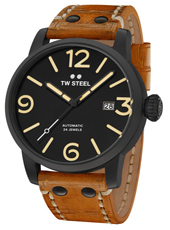 MS36 Maverick 48mm XXL Men's Black Automatic Watch with Brown Strap