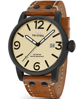 MS42 Maverick 48mm XXL Men's Bblack Watch with Brown Strap