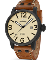 MS45 Maverick 45mm XL Men's Black Automatic Watch with Brown Strap