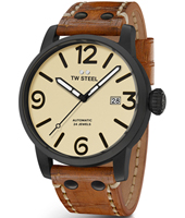 MS46 Maverick 48mm XXL Men's Black Automatic Watch with Brown Strap