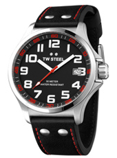 TW410 Pilot  45mm Black & Steel Watch with Date & Red Details